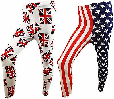 GIRLS UK & USA FULL LENGTH LYCRA MIX LEGGINGS Union Jack Stars And Stripes