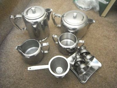 Stainless Steel Tea Pot, Hot Water Pot, Sugar Bowl & Milk Jug Plus Other Bits