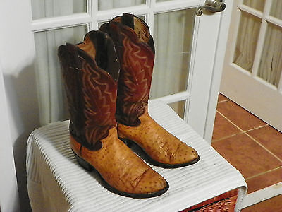 0407d45ff30 JUSTIN FULL QUILL Ostrich Leather Cowboy Boots Brown Men's size 8 D