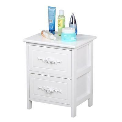 White Rose Wooden Bedside Tables Cabinets Nightstand 2 Storage Drawers