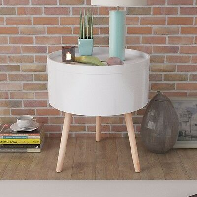 #vidaXL Side Coffee Table Storage with Serving Tray Round 39.5x44.5 cm White