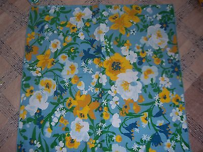 "Vtg Set of 6 Cotton Victory K&B? MOD Blue Floral Napkins Yellow DAFFODILS 17"" Sq"