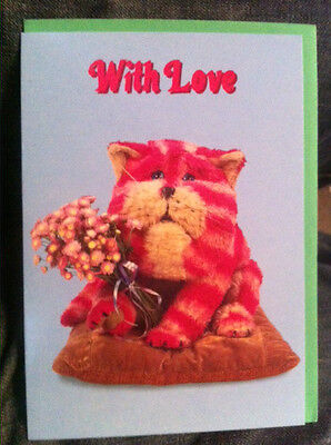 BN Bagpuss Card With Love with Bagpuss holding some flowers Valentines Day