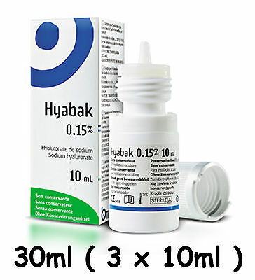 Hyabak 30ml ( 3 x 10ml ) Eye Drops for dry eyes Spectrum Thea  Preservative Free