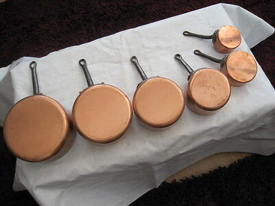 French Vintage Set 6 Copper Pans Stamped Havard With Cast Iron Handles