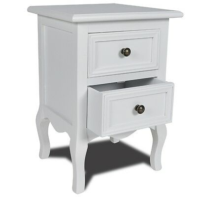 Modern White 2 Drawer Nightstand Night Stand Beside Table Bedstand