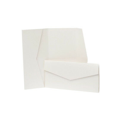 Pearl Pearlescent Pocketfold Invites with envelopes. DIY Wedding Cards