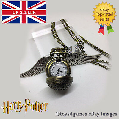 UK NEW Harry Potter Golden Snitch Quidditch Long Pocket Watch Necklace Jewellery