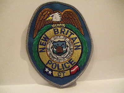 police patch  NEW BRITAIN POLICE CONNECTICUT   SILVER BORDER