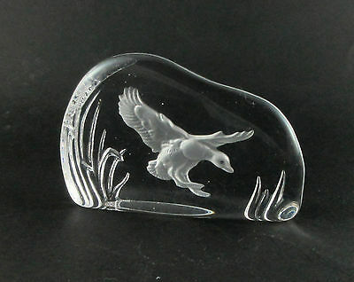 1970s Wedgwood Lead Crystal Glass Intaglio Paperweight Bird Duck Landing