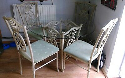Dining Table and 4 Chairs Set / Glass Dining Table top