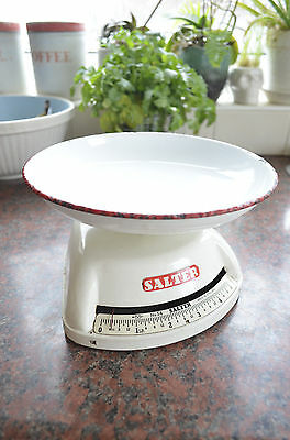 Vintage RED Salter No 54 Kitchen Scales With Enamel Dish