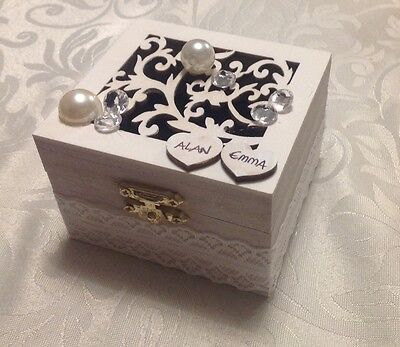Personalized wedding ring box with velvet cushion, wooden white jewellery box  !