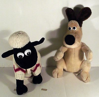 """10"""" GROMIT DOG  +  SHAUN THE SHEEP - 2 x WALLACE AND GROMIT SOFT TOY"""