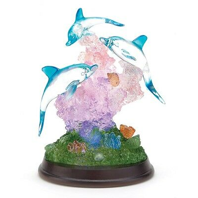 Three Dolphins on Wood Base with LED Lights FREE SHIPPING
