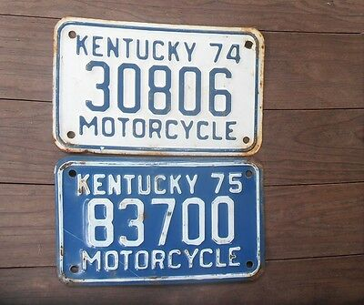 Set of 2 Kentucky Motorcycle License Plates 1974 1975