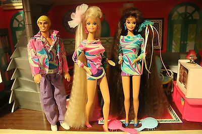 Vintage Totally Hair Barbie, Ken  And Thresa clothes shoes and brushes!