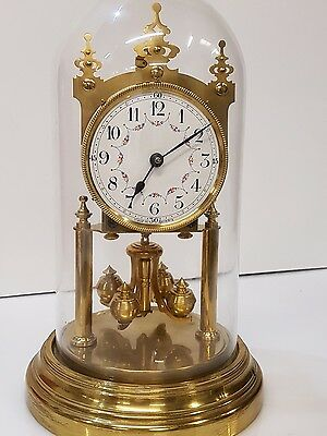 Rare 400 day clock,anniversary,torsion,Gustav Becker Painted Dial Mantel Clock