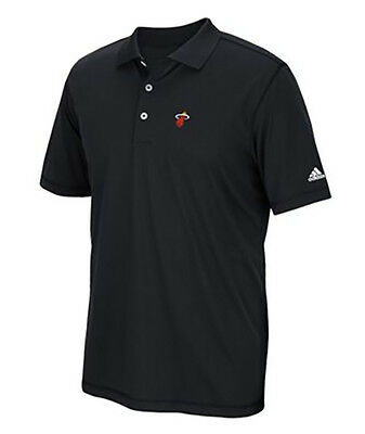 New Mens Adidas Puremotion Miami Heat Solid Polo Shirt Black White Size Small