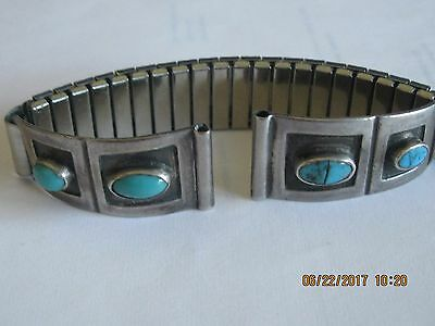 VINTAGE  Sterling Silver With Turquoise Watch Band Ends
