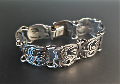 Vintage Mexico Sterling Silver Carved Panels Link Bracelet Swallows 35.6 g 7.25""