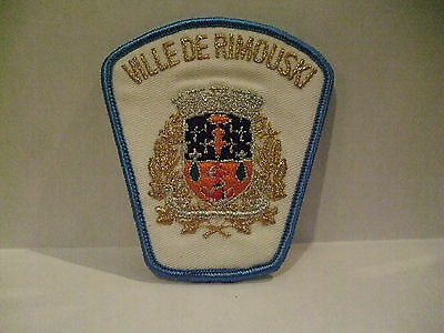 police patch  VILLE DE RIMOUSKI POLICE QUEBEC  CANADA  NEWER STYLE MYLAR WHITE