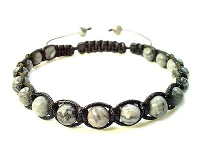 men's bracelet braided wristband Grey Map Stone beads shamballa adjustable gift