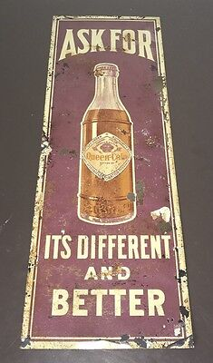 Rare 1920's Queen Cola Antique Metal Advertising Sign Original Soda Tin