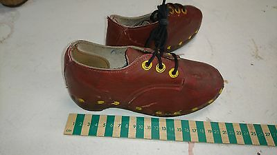Vintage children's traditional clogs. Leather upper with wooden soles