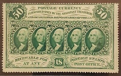 50 Cents First Issue Fractional Currency w/ Monogram & Perforated Edges, PCGS 55