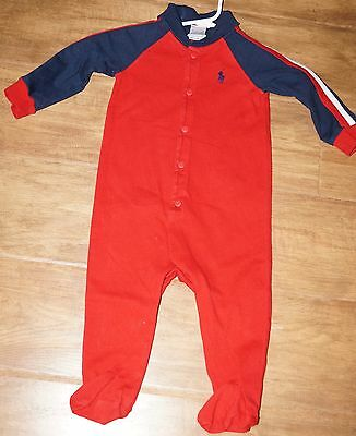 Ralph Lauren red, white, blue sleeper size 9 months baby boys one piece outfit