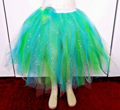 """TODDLERS 15"""" Long Mermaid Tutu Blue & Green with Silver Sequin/Glitter top layer"""