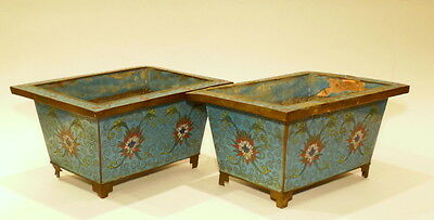 19th C Chinese Pair Cloisonne Incense Pots