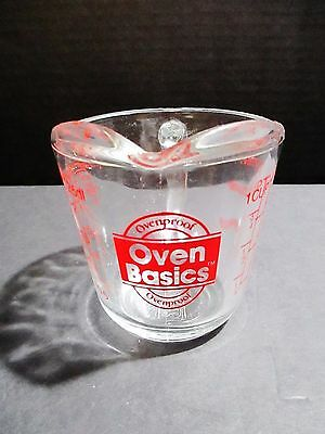 Oven Basics Glass Measuring Cup - Anchor Hocking - Holds 1 Cup - 8 oz - 1/2 Pint