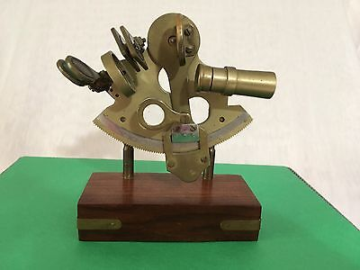 VINTAGE SEXTANT Brass On Wood Stand Working