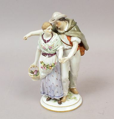 Superb Antique 19c Meissen Germany Hand Painted Figurine of Courting Couple