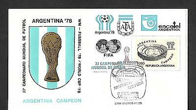 Argentina 1978 World Soccer Championships Souvenir Cover, Argentina Champion !!