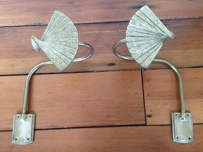 Vintage Pair Solid Brass Japanese Fan Decorative Curtain Tie Backs Wall Mount