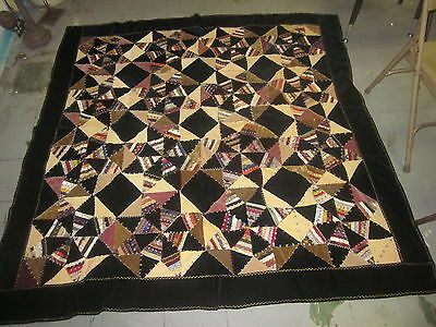 """Antique 1880 Hand Made Embroidered Patchwork STAR Crazy Quilt  70"""" by 68"""""""