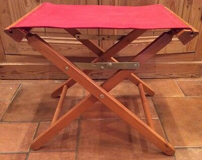 Vintage Commander Folding Red Canvas Wood Frame Large Stool Chair Fishing Camp