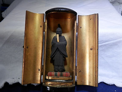 Antique Japanese Buddhist travel shrine ZUSHI, 19th Century,inscribed