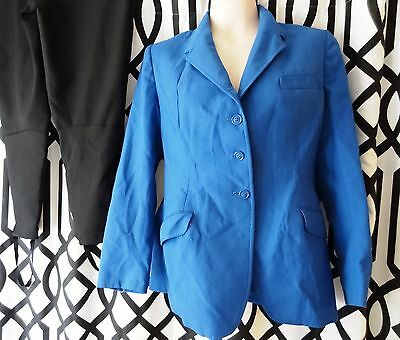 Vintage JACKET Equestrian Correct Riding Apparel Brand Blue Youth 18R with Stirr