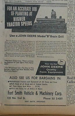 1958 newspaper ad for John Deere -  Model B Grain Mill, for accurate planting