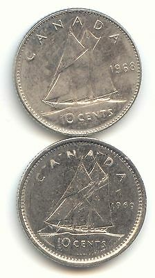 Canada 1968 and 1969 Canadian Dimes Ten Cents 10c 10 c EXACT COIN SHOWN
