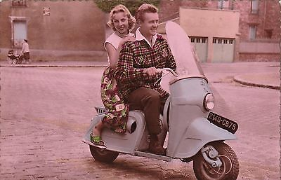RP; Couple on a Motor Scooter , 30-40s