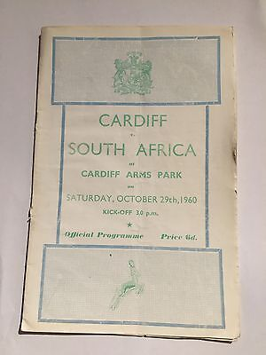 Rugby Programme Cardiff v South Africa October 29th 1960
