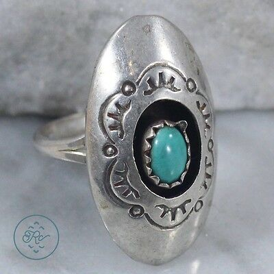 Vintage Sterling Silver | NAVAJO Turquoise Shadowbox | Ring
