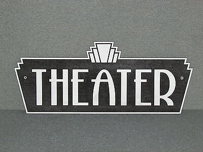 Vintage Style Wood Art Deco Silver & Black Theater Sign Movie Home Theater