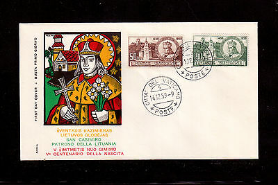 Vatican 1959 First Day Cover # 264/65 St. Casimir Patron Of Saint Of Lithuania !