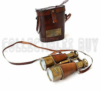 Victorian Marine Brass Leather Binocular Sailor Instrument London 1915 Orange